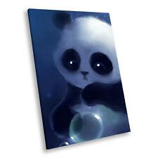 Blue Panda Graphic Black Portrait Animal Canvas Framed Art Large Picture