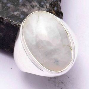 Rainbow Moonstone Ethnic Handmade Men's Ring Jewelry US Size-9.25 AR 42492