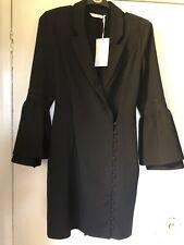 Michelle Keegan Black Flared Sleeve Tuxedo Dress Size 8