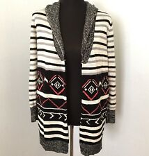 Zinga Women S Swing Cardigan Sweater Aztec Nordic Stripe Pocket Black Pink White