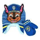 PAW PATROL CHASE Boys Blue Fleeced-Lined Peruvian Beanie Hat Mitten Set NWT 22