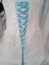 Lacet ruban BLEU AZUR / 3 mètres - satiné pour robe de mariée/soirée