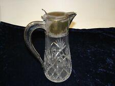 Antike Kalte Ente Karaffe Kristallglas Glaskaraffe Messing Versilbert (P-279)