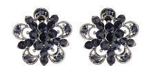 Clip On Earrings - gunmetal grey stud earring with dark blue crystals - Cotia