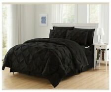 Elegant confor BLACK PINTUCK 8 PCS COMFORTER SHEETS FULL/ QUEEN SET