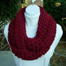 Solid Red INFINITY SCARF Loop Cowl Dark Cranberry Thick Crochet Knit Wool Blend