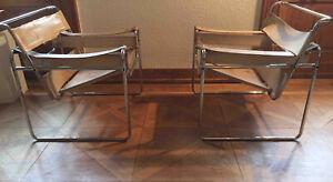 2 x Wassily Chair Canvas B3 Line, Gavina, Design Marcel Breuer Originale 1960er