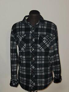 O'Neill Women's Plaid Super Fleece Long Sleeve Flannel Shirt Size Small Black