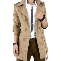 Men's Winter Slim Double Breasted Trench Coat Long Jacket Overcoat Outwear Parka