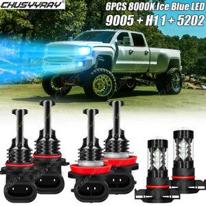 For GMC Sierra 1500 2500 3500 Combo LED Headlight High Low+Fog Light Bulbs 8000K