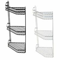 3 Tier Metallic Corner Shower Caddy Bathroom Storage Rack Shelf Organiser Basket