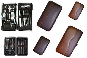Leather Travel Pedicure Manicure Set Nail Clipper Cleaner Scissor Kit Case Lot