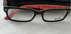 NEW Ray-Ban RB5206 / RX5206 2479 BLACK ON RED WITH DEMO LENSES 52 mm Eyeglasses