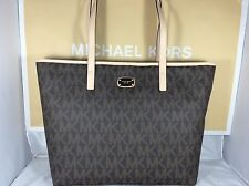 NWT Michael Kors Brown PVC Jet Set Laptop Computer Multifunction Tote Bag Purse