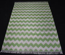 Home & Garden Decor Area Kilim Rug Zig-Zag Designer Green Color Cotton Rug 4x6ft