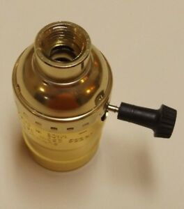 """BRASS PLATED 3-WAY TURN KNOB LAMP SOCKET WITH LARGE 1/2"""" HOLE 1/4IP NEW 306061J"""