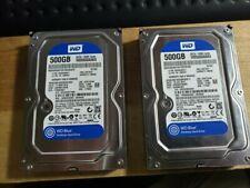 "lot of 2 WD 500GB BLUE 7200RPM 3.5"" WD5000AAKX Hard Drive PAIR"