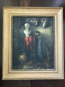 Antique Primitive European French English Still Life Marble Bust Oil Painting
