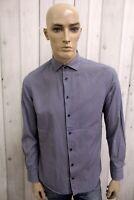TOMMY HILFIGER Camicia Uomo Cotone Shirt Casual Manica Lunga Chemise Taglia L