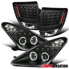 For 00-05 Toyota Celica Black Projector Headlights+LED Halo Rims+LED Tail Lights