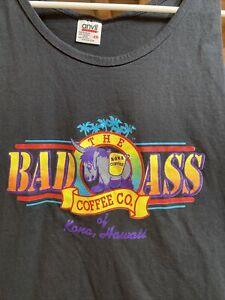 The Bad Ass Coffee Co Tank Top T-Shirt Kona Hawaii XXL Black & Multicolored