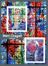 France 2017 MNH Marc Chagall 2v M/S Stained Glass Art Paintings Stamps