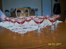 Tiffin Franciscan 12 Wistaria Pink ChampagneTall Sherbet Cocktail Crystal Glass