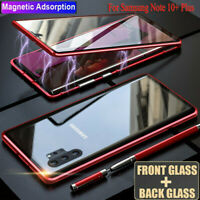 For Samsung Note 10 Plus S10 Magnetic Metal Frame Full Tempered Glass Case Cover