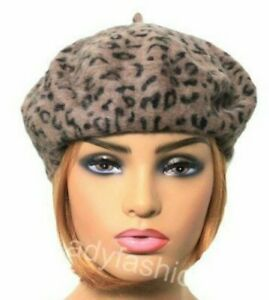 Quality Angora Wool Mix Beret Ladies Women's Hat Leopard Print DARK BROWN