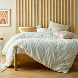 Waffle Tufted Washed Cotton White Quilt Cover QUEEN KING Doona Duvet Set