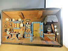Large Diorama Box Austria Kitchen Scene Men Playing Cards Wood Wall Art #8