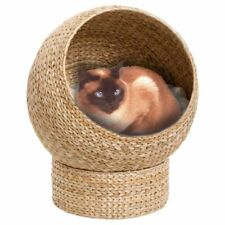 Cat Bed Wicker Den Banana Leaf Hand Woven Raised Natural Products Sleep Stylish