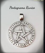 Pentáculo Runas Colgante Collar Pentagrama Pagana Wicca Druida PLATA 925