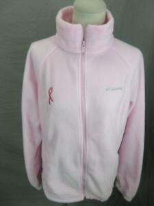Columbia Size L Womens Pink Full Zip Side Pockets Outdoor Fleece Jacket T393