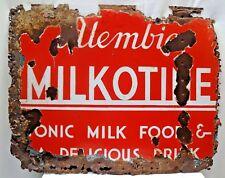 VINTAGE TONIC MILK FOOD MILKOTINE PORCELAIN ENAMEL SIGN CHEMIST MEDICAL COLLECTI