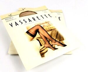 Lot 2 Vtg Vassarette Intimate Hosiery Medium Lace Top Thigh High Beige 8030
