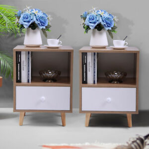 Set of 2 Nightstand Bedside End Table 2 Layer w/Drawer Bedroom Furniture