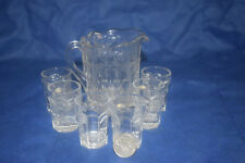Miniature Mosser Glass Child's Set - Pitcher & 6 Glasses  - Cherry Thumbprint