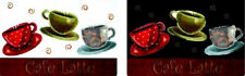 Clear Plastic Placemats Textured Set of 4 Coffee Cups Cafe Latte Kitchen Theme
