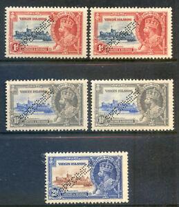Britsih Virgin Islands 1935 Jubilee 5v perforated specimen mint (2019/01/22#02)