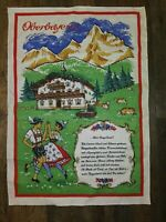 Vintage Linen Tea towel Oberbayern Germany Decorative Mountain Mein Bayerland