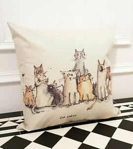 Cream Country Street Cats Occasion Linen Contemporary Scatter Bedroom Cushion