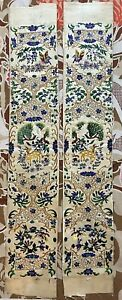 Antique Chinese Silk Hand Embroidery Sleeve Band For Robe 10 X 59 Cm