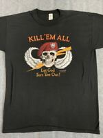 80S Xl Skullwing Vintage T-Shirt Jrs Enterprises Military Objects Harley