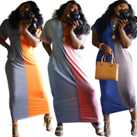 New Women's Short Sleeves Color Patchwork Pockets Casual Loose Maxi Dress Party
