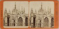 Italia Milan Cattedrale Ca 1875 Foto Brogi Stereo Vintage Albumina