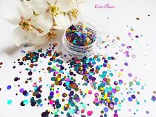 NAIL art a trama grossa * mardigras * VIOLA ORO DOT Cerchio Forma GLITTER Spangle MIX POT
