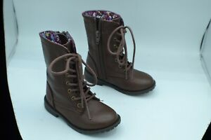 Cherokee Size 7 Toddler Girls Brown Lace Up Military Combat Side Zip Boots *NEW*