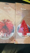 RED METALLIC FOIL BALL AND TREE CHRISTMAS HANGING DECORATIONS