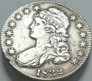 1832 Capped Bust Half Dollar 50C Ungraded In XF Condition Historic Era Half Coin